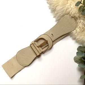 Cream / beige Waist Belt Gold Trim Buckle Stretchy
